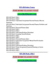 FIN 420 ASSIST Career Path Begins/fin420assist.com