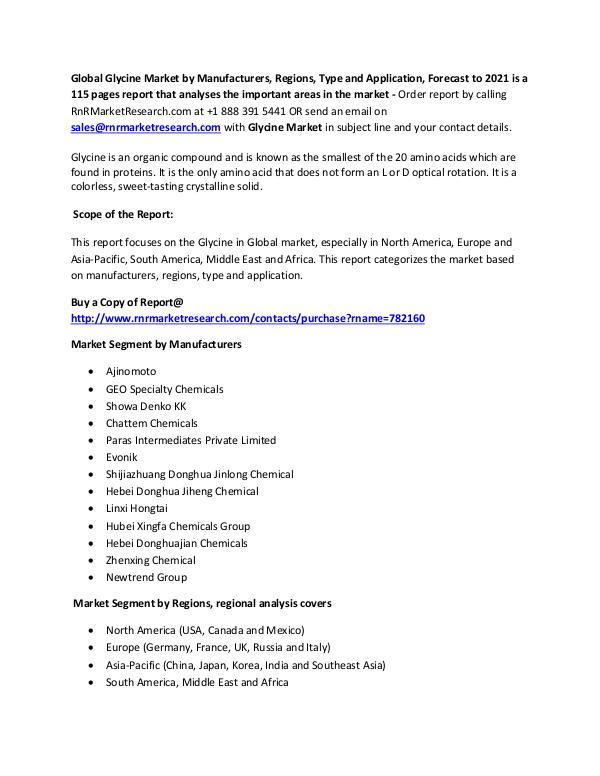 Chemical Glycine Market 2017 Global Report Chemical Report- Jan 2017
