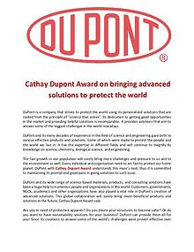 Cathay Dupont Award bringing advanced solutions to protect the world
