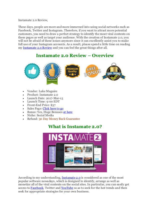 Instamate 2.0 Review and MEGA Bonus - It's Scam Or Legit?