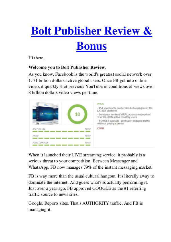 Bolt Publisher Review - Why Should Buy It? 50% Discount