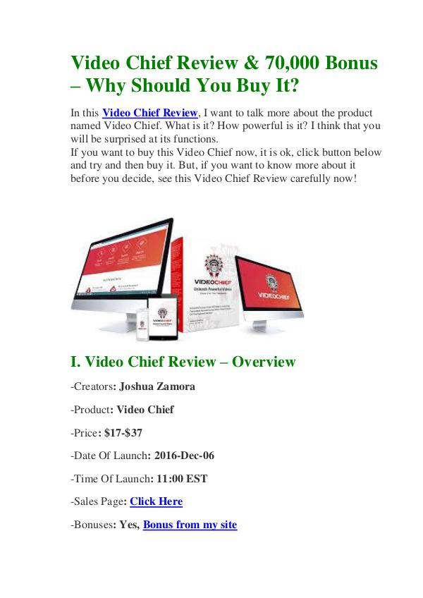 Video Chief Review & 70,000 Bonus - Why Should You Buy It? Best Review