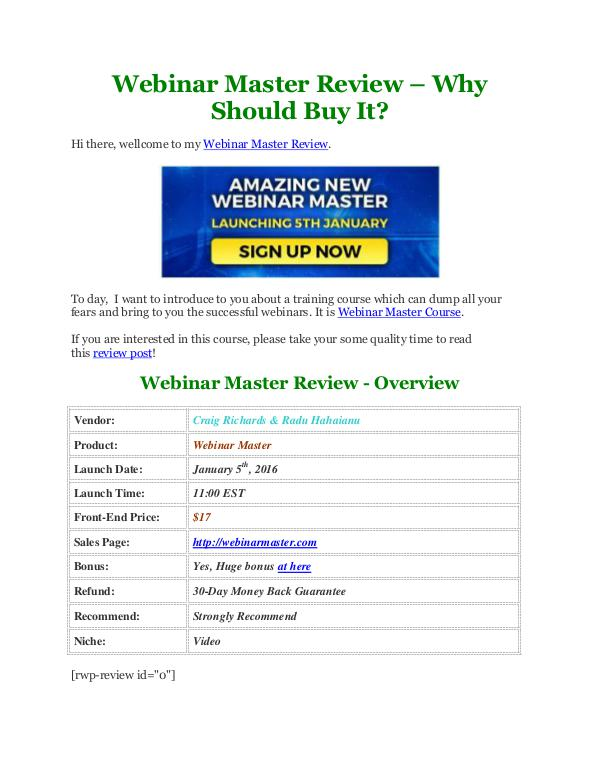 Webinar Master Review and $70,000 Bonus - 50% Discount - Does It Really Work?