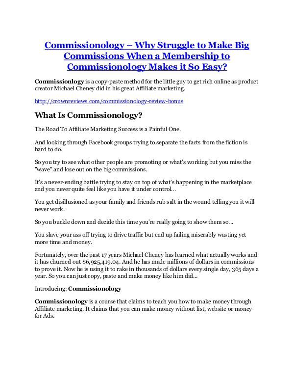 marketing Commissionology review - (FREE) Jaw-drop bonuses