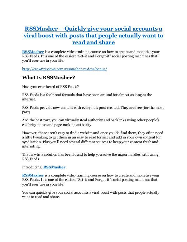 RSSMasher review & SECRETS bonus of RSSMasher