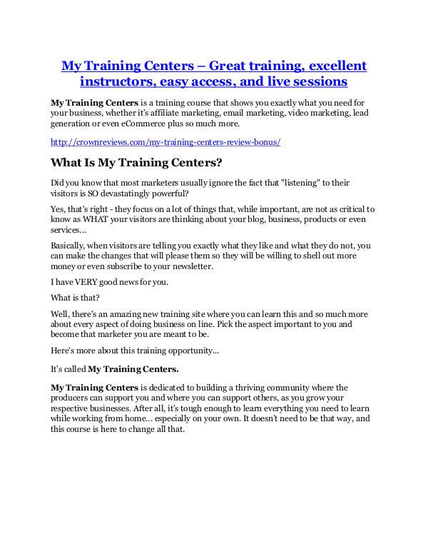 marketing My Training Centers Review-$24,700 BONUS & DISCOUNT