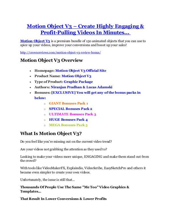 marketing Motion Object V3 review & SECRETS bonus of Motion Object V3