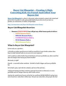 marketing Buyer List Blueprint Review and $30000 Bonus - Buyer List Blueprint 80% DISCOUNT