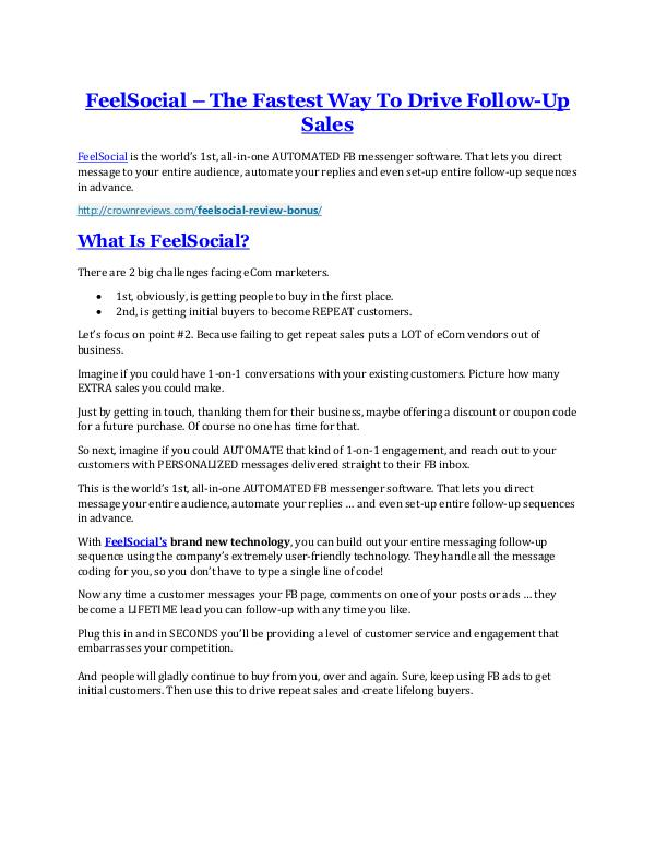 FeelSocial review - (FREE) Jaw-drop bonuses FeelSocial review - I was shocked!