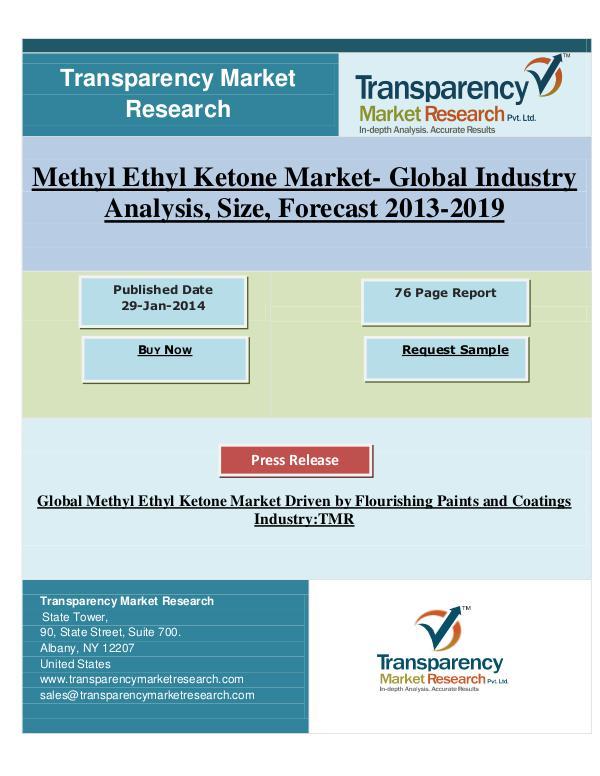 Methyl Ethyl Ketone Market for Paints & Coatings 2013 to 2019