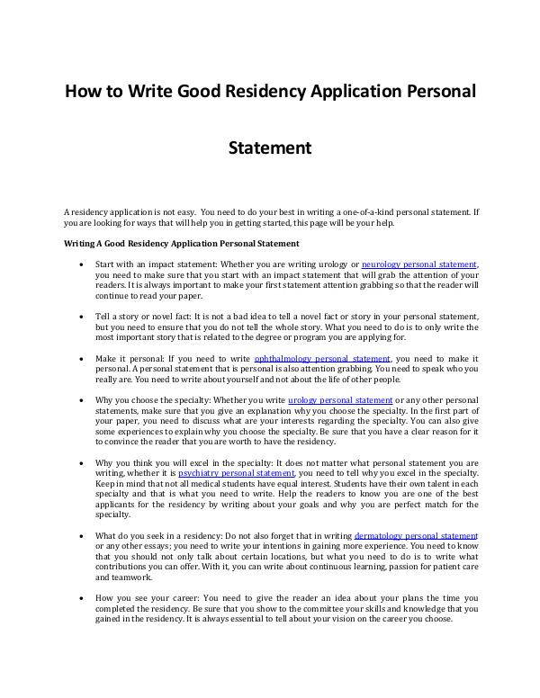 Writing A Good Residency Application Personal Statement Writing A