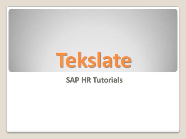 SAP HR Tutorial Learn Best SAP HR Course