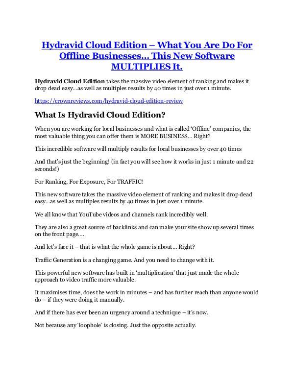 marketing Hydravid Cloud Edition review-(MEGA) $23,500 bonus