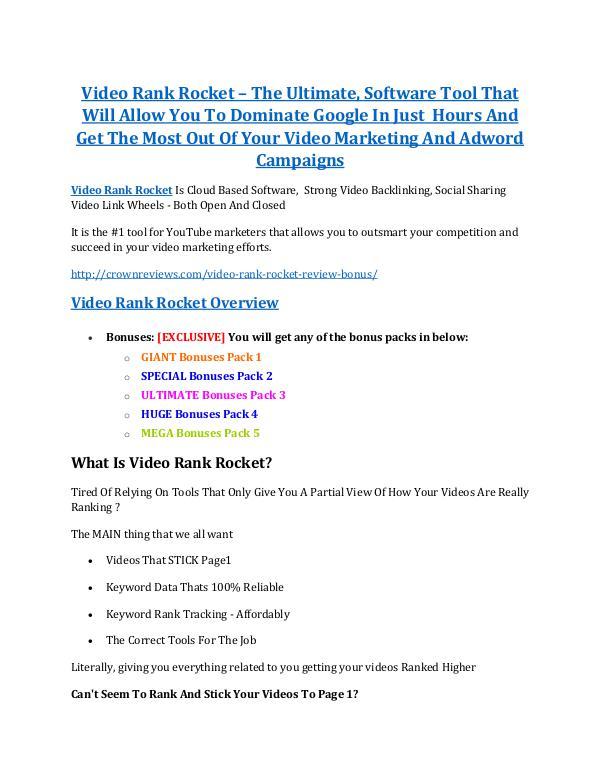 Video Rank Rocket review & bonus - I was Shocked!