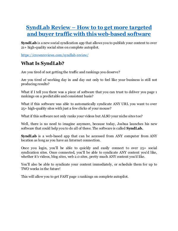 marketing SyndLab review demo-- SyndLab FREE bonus