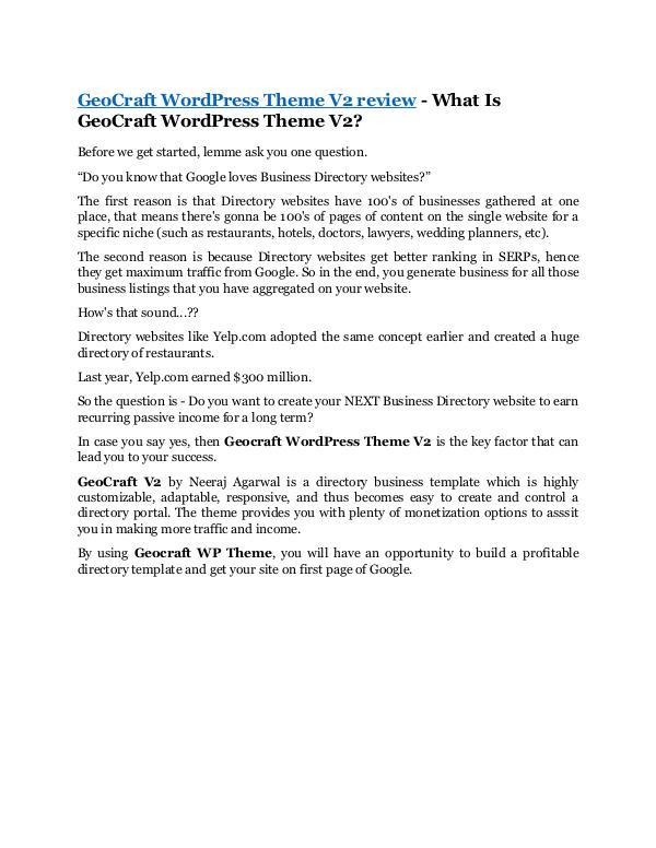 marketing GeoCraft WordPress Theme V2 Review -(FREE) $32,000