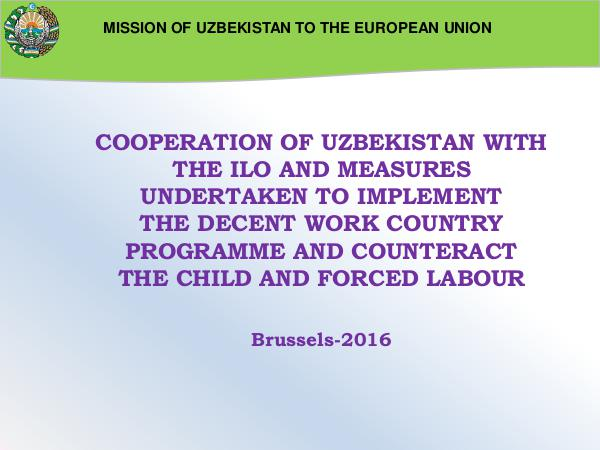 Presentation COOPERATION WITH ILO