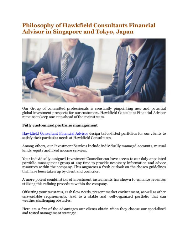 Hawkfield Consultants Financial Advisor in Singapore and Tokyo, Japan Philosophy