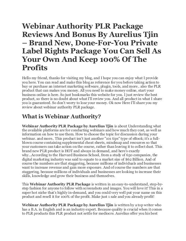 Webinar Authority PLR Package - Done For You Product by Aurelius Tjin Webinar Authority Done For You PLR Package