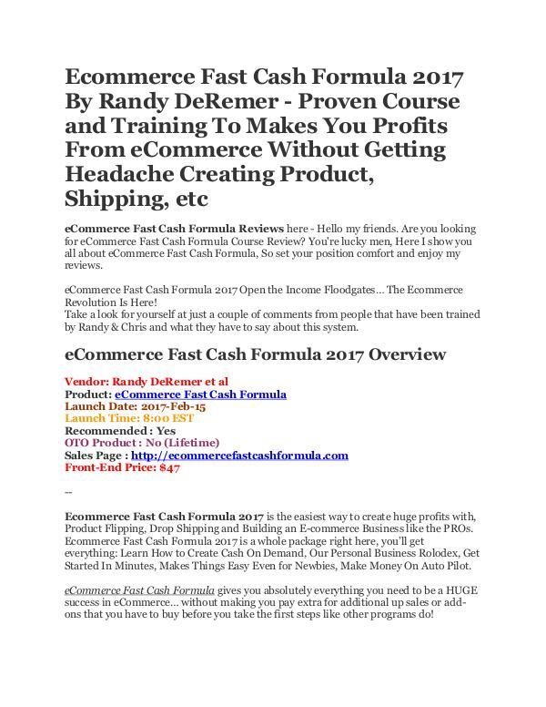 eCommerce Fast Cash Formula 2017 eCommerce Fast Cash Formula 2017 Reviews