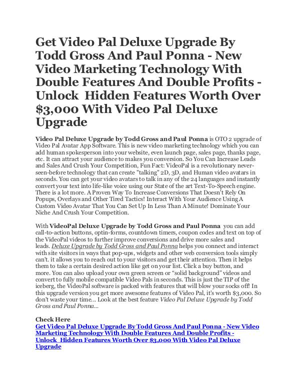 Get Video Pal Deluxe Upgrade Software by Todd Gross and Paul Ponna Get Video Pal Deluxe Upgrade by Todd Gross