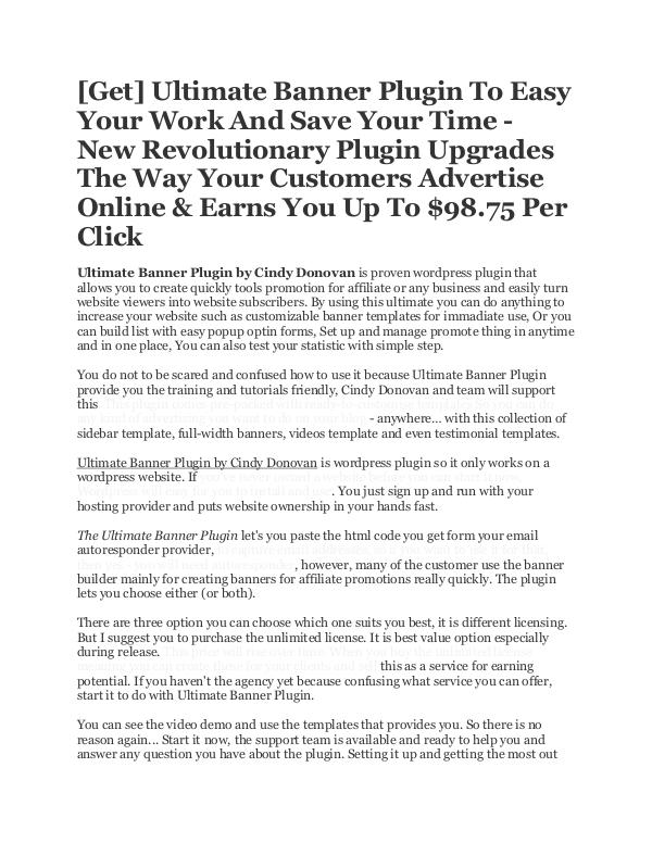 ULTIMATE BANNER PLUGIN REVIEW BY CINDY DONOVAN Best software To Create Banner