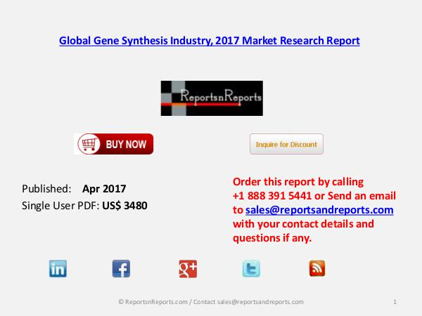 Global Gene Synthesis Market Analysis, Forecasts 2022 Apr 2017