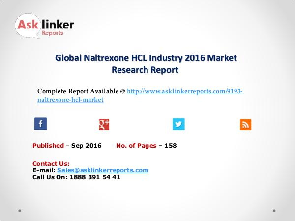 Global Naltrexone HCL Market by Supply, Demand and Industry Growth Sep 2016
