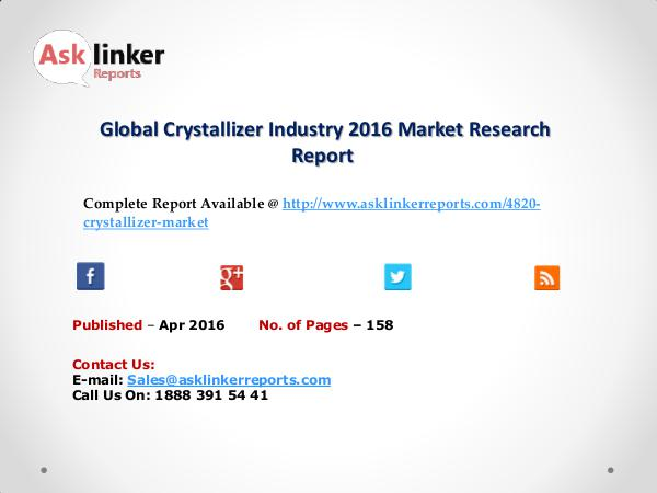Global Crystallizer Market by Supply, Demand and Industry Demand 2020 Apr 2016