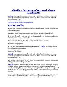 marketing Vitraffic review - 65% Discount and FREE $14300 BONUS