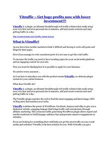 marketing Vitraffic review - 65% Discount and FREE $14300 BONUS