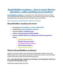 marketing Brand Builders Academy review-SECRETS of Brand Builders Academy and $16800 BONUS