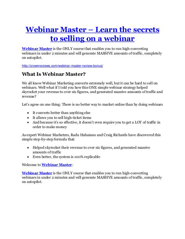 Webinar Master Review-$9700 Bonus & 80% Discount