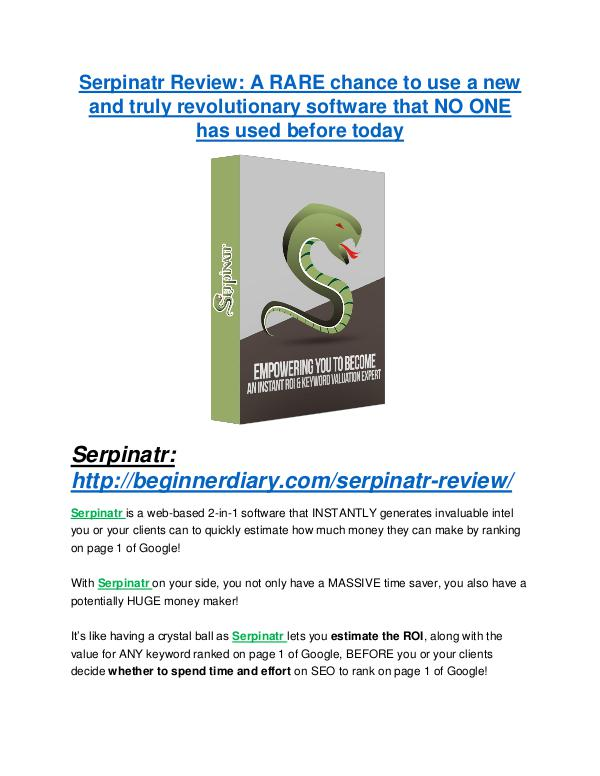 marketing Serpinatr review and Serpinatr $11800 Bonus & Discount