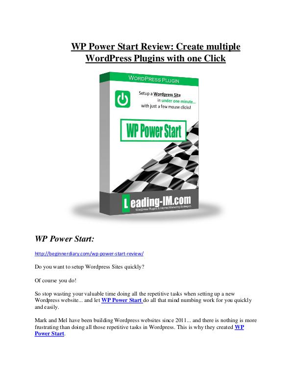 marketing WP Power Start Review-(GIANT) bonus & discount