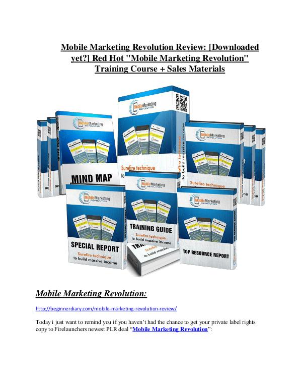 marketing Mobile Marketing Revolution review & bonuses - cool weapon