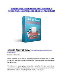 Simple Copy Creator review - Simple Copy Creator +100 bonus items Simple Copy Creator review-$16,400 Bonuses & 70% Discount