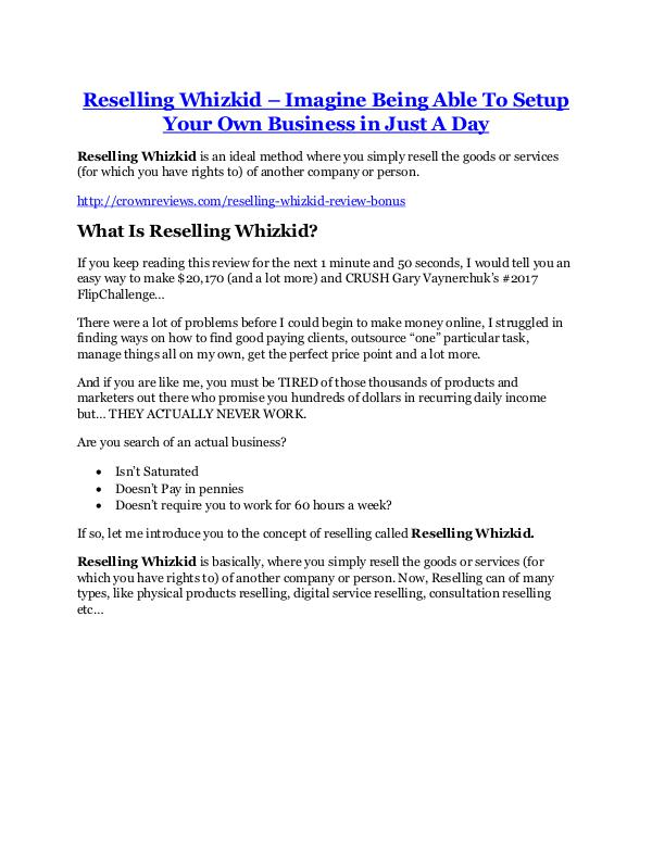 Reselling Whizkid review and (FREE) $12,700 bonus