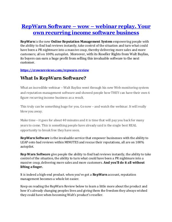 RepWarn Review-TRUST about RepWarn cand 80% discou