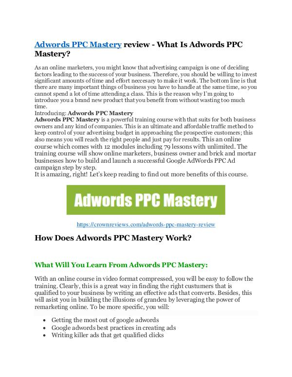 Adwords PPC Mastery review demo - Adwords PPC Mast