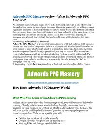 marketing Adwords PPC Mastery Review and (Free) GIANT $14,600 BONUS