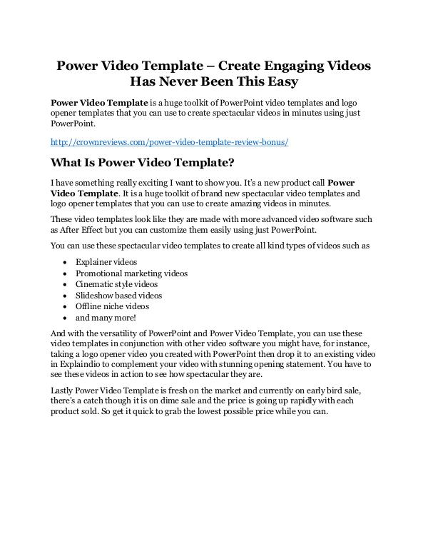 Power Video Template Review & GIANT Bonus Power Video Template Review and Premium $14,700 Bo