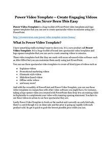 Power Video Template Review & GIANT Bonus