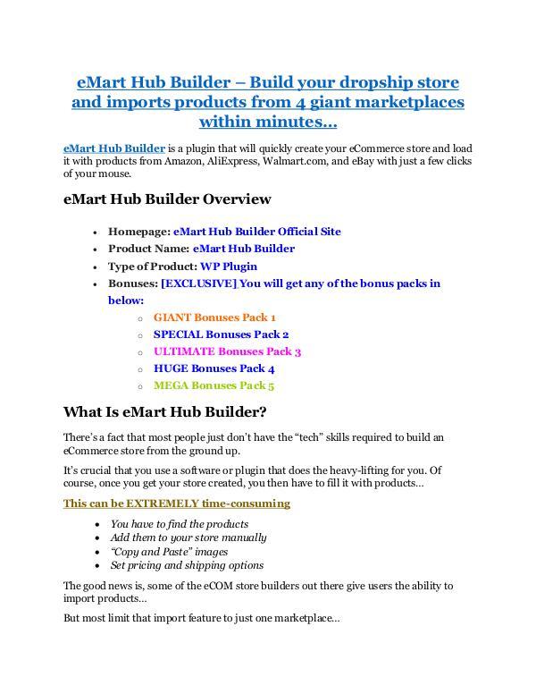 eMart Hub Builder review and sneak peek demo eMart Hub Builder review & huge +100 bonus items