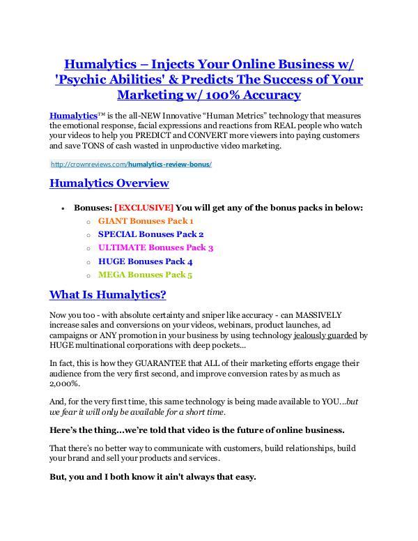 Humalytics review and (SECRET) $13600 bonus Humalytics Review-MEGA $22,400 Bonus & 65% DISCOUNT