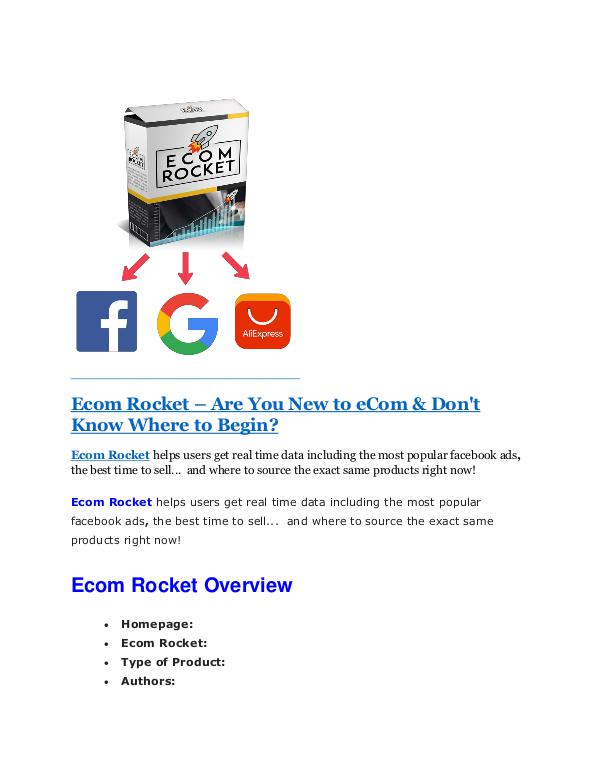 Ecom Rocket Review & GIANT Bonus Ecom Rocket review & bonus - I was Shocked!