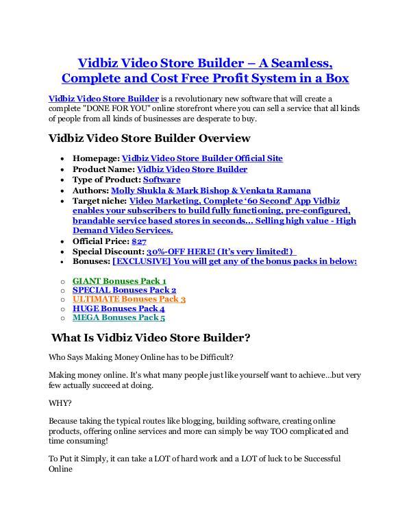 Vidbiz Video Store Builder review & bonus - I was Shocked! Vidbiz Video Store Builder review & bonuses - cool weapon