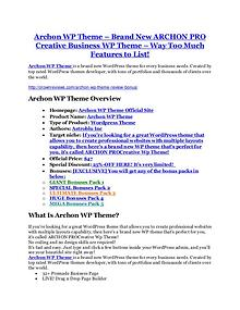 Marketing Archon WP Theme review and giant bonus with +100 items