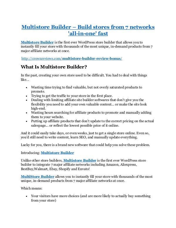 Marketing Multistore Builder Review & GIANT Bonus