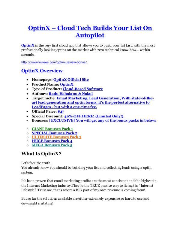 OptinX review-- OptinX (SECRET) bonuses OptinX Review-$32,400 bonus & discount